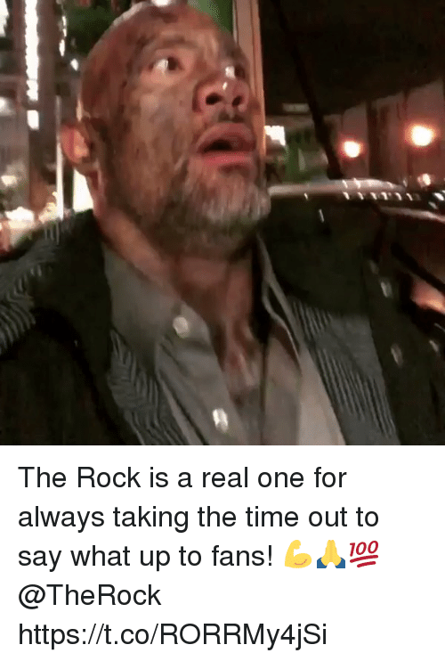The Rock, Time, and Rock: The Rock is a real one for always taking the time out to say what up to fans! 💪🙏💯 @TheRock https://t.co/RORRMy4jSi