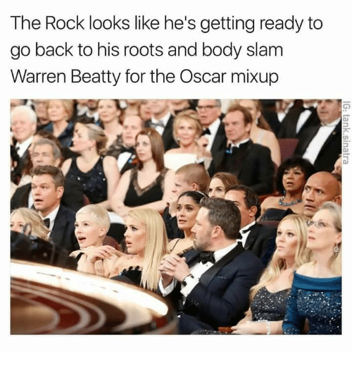 Memes, The Rock, and 🤖: The Rock looks like he's getting ready to  go back to his roots and body slam  Warren Beatty for the Oscar mixup
