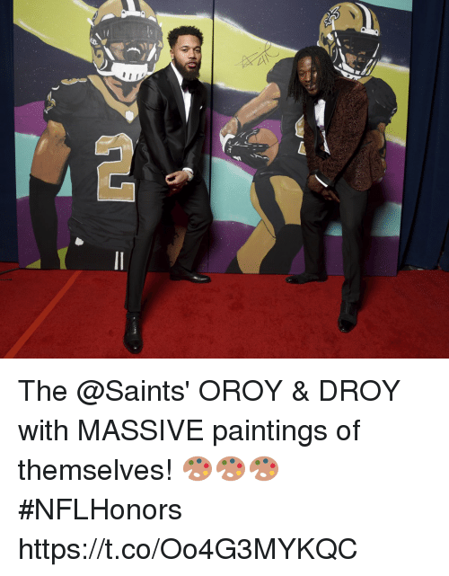 Memes, Paintings, and New Orleans Saints: The @Saints' OROY & DROY with MASSIVE paintings of themselves! 🎨🎨🎨 #NFLHonors https://t.co/Oo4G3MYKQC