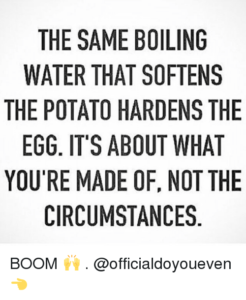 Gym: THE SAME BOILING  WATER THAT SOFTENS  THE POTATO HARDENS THE  EGG. IT'S ABOUT WHAT  YOU'RE MADE OF, NOT THE  CIRCUMSTANCES BOOM 🙌 . @officialdoyoueven 👈