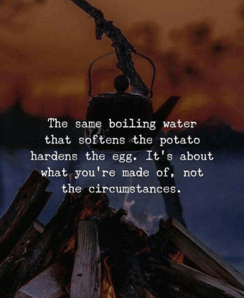 boiling: The same boiling water  that softens the potato  hardens the egg. It's about  what you're made of, not  the circumstances.