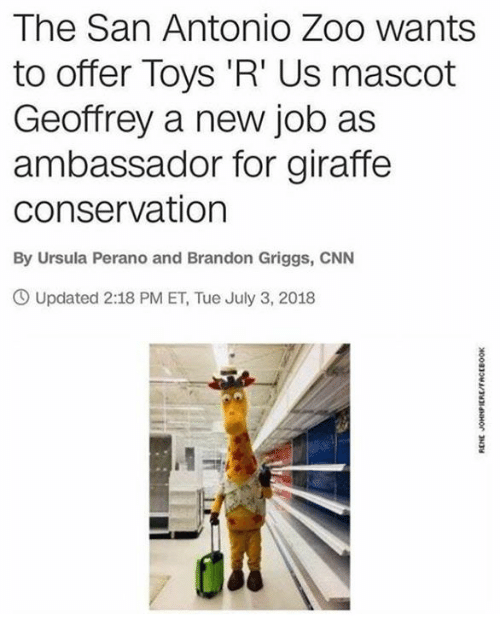 Toys R Us: The San Antonio Zoo wants  to offer Toys 'R' Us mascot  Geoffrey a new job as  ambassador for giraffe  conservation  By Ursula Perano and Brandon Griggs, CNN  Updated 2:18 PM ET, Tue July 3, 2018