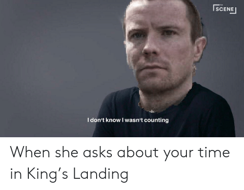 I Dont Know I Wasnt Counting: THE  SCENE  | SCENE  I don't know I wasn't counting When she asks about your time in King's Landing