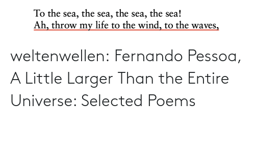Poems: the sea!  the  the  To the sea,  Ah, throw my life to the wind, to the waves,  sea,  sea, weltenwellen:  Fernando Pessoa, A Little Larger Than the Entire Universe: Selected Poems