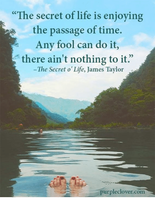 """the passage: """"The secret of life is enjoying  the passage of time.  Any fool can do it  there ain't nothing to it.  The Secret o Life, James Taylor  pleclover com"""