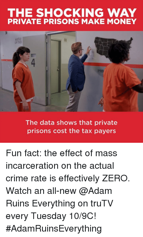 The Shocked: THE SHOCKING WAY  PRIVATE PRISONS MAKE MONEY  PRIV  The data shows that private  prisons cost the tax payers Fun fact: the effect of mass incarceration on the actual crime rate is effectively ZERO.  Watch an all-new @Adam Ruins Everything on truTV every Tuesday 10/9C! #AdamRuinsEverything