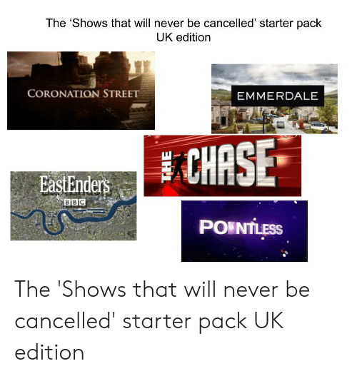 EastEnders: The 'Shows that will never be cancelled' starter pack  UK edition  CORONATION STREET  EMMERDALE  CHASE  EastEnders  BBC  PO NTLESS The 'Shows that will never be cancelled' starter pack UK edition