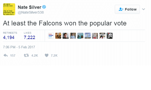 Popular Vote: the signai  Nate Silver  Follow v  uhy so nm  ene daie@NateSilver538  At least the Falcons won the popular vote  RETWEETS  LIKES  4,194 7,222  7:06 PM-5 Feb 2017  157  4.2K  7.2K
