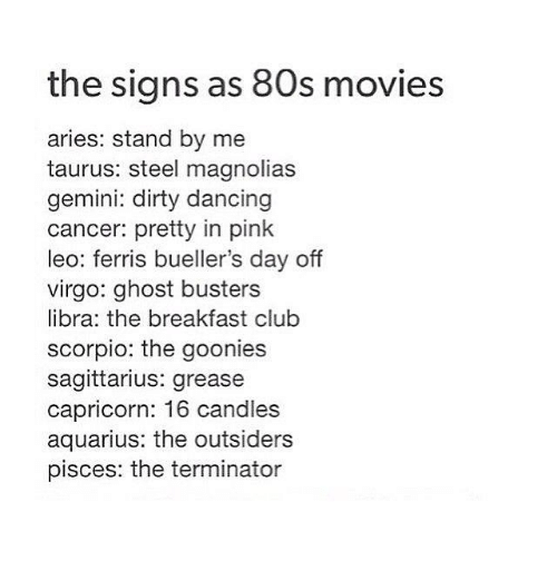 80s, Club, and Dancing: the signs as 80s movies  aries: stand by me  taurus: steel magnolias  gemini: dirty dancing  cancer: pretty in pink  leo: ferris bueller's day off  virgo: ghost busters  libra: the breakfast club  scorpio: the goonies  sagittarius: grease  capricorn: 16 candles  aquarius: the outsiders  pisces: the terminator