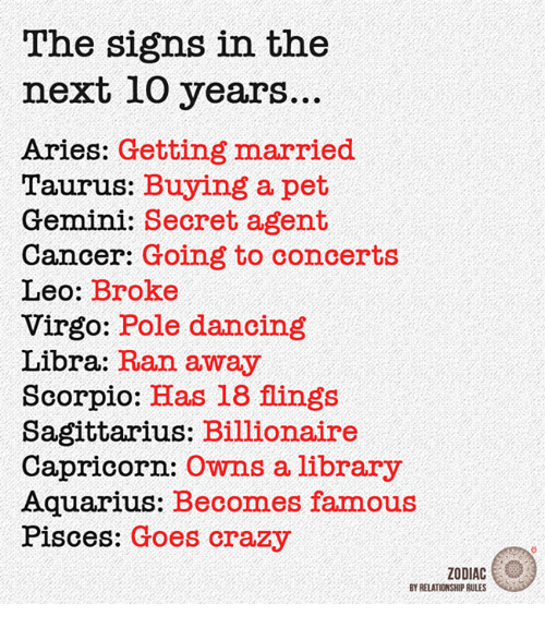 pole dancing: The signs in the  next 10 years.  Aries: Getting married  Taurus: Buying a pet  Gemini: Secret agent  Cancer: Going to concerts  Leo  Broke  Virgo: Pole dancing  Libra:  Ran away  Scorpio  Has 18 flings  Sagittarius: Billionaire  Capricorn:  owns a library  Aquarius: Becomes famous  Pisces: Goes crazy  ZODIAC  BY RELATIONSHIP RULES