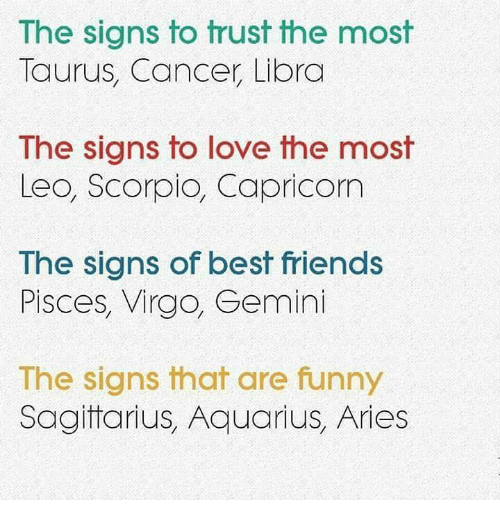 sagitarius: The signs to trust the most  Taurus, Cancer Libra  The signs to love the most  Leo, Scorpio, Capricom  Ihe signs of best friends  Pisces, Virgo, Gemini  The signs that are funny  Sagitarius, Aquarius, Aries