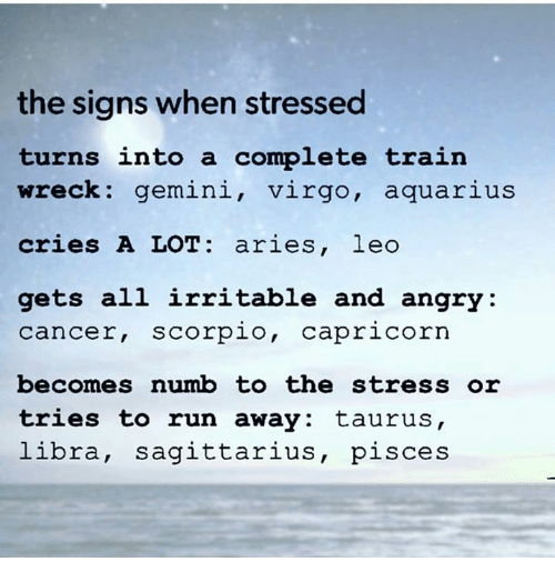 irritable: the signs when stressed  turns into a complete train  wreck: gemini, virgo, aquarius  cries A LOT aries, leo  gets all irritable and angry  Cancer, Scorpio  Capricorn  becomes numb to the stress or  tries to run away: taurus,  libra, Sagittarius  pisces