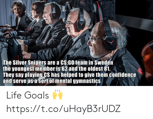 cs go: The Silver Sniners are a CS:GO team in Sweder  the youngest member is 62 and the oldest81. 4  They say playing CS has helped to give them confidence  and serve as a sort of mental gymnastics Life Goals 🙌 https://t.co/uHayB3rUDZ
