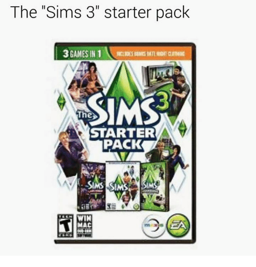 "sims 3: The Sims 3"" starter pack  3 GAMES IN 1  The  STARTER  PACK  SIMS SIMS  WIN  MAC"
