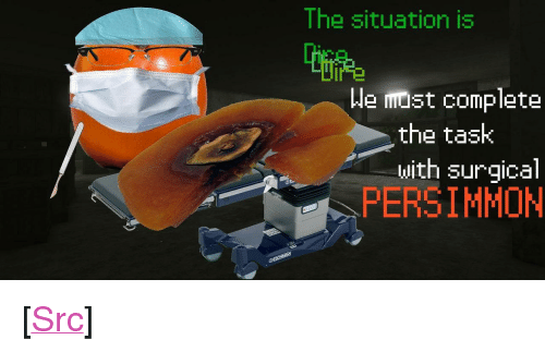 "Persimmon: The situation is  We must complete  the task  with surgical  PERSIMMON <p>[<a href=""https://www.reddit.com/r/surrealmemes/comments/7lvqxz/the_doctor_is_in/"">Src</a>]</p>"