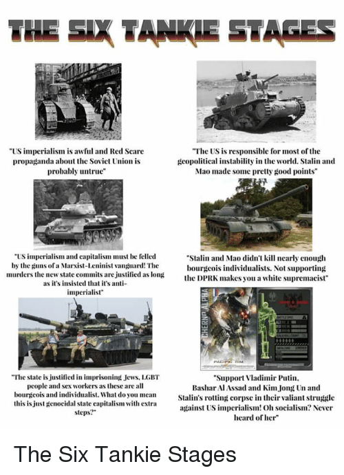 """Stalinator: THE SIX TANKIE STAGES  US impcrialism is awful and Red Scare  propaganda about the Sovict Union is  probably untrue""""  """"The US is responsible for most of the  gcopolitical instability in the world. Stalin and  Mao made some pretty good points  US imperialism and capitalism must be felled  by the guns ofa Marxist-Leninist vanguard! The  murders the new state commits are justified as long  Stalin and Mao didn't kill nearly enouglh  bourgcois individualists. Not supporting  e DPRK makes you a white supremacist  as it's insisted that it's a  imperialist  坐  The state is justified in imprisoning Jews, LGBT  """"Support Vladimir Putin  Bashar Al Assad and Kim Jong Un and  people and sex workers as these are all  bourgeois and individualist. What do you meanStalin's rotting corpse in their valiant strugdle  this is just genocidal state capitalism with extra  against US imperialism! Oh socialism? Never  heard of her  steps The Six Tankie Stages"""