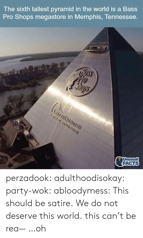 Sixth: The sixth tallest pyramid in the world is a Bass  Pro Shops megastore in Memphis, Tennessee  FACTS perzadook:  adulthoodisokay:  party-wok:  abloodymess:  This should be satire.  We do not deserve this world.  this can't be rea— …oh