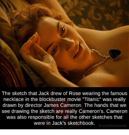 """Blockbuster, Memes, and Titanic: The sketch that Jack drew of Rose wearing the famous  necklace in the blockbuster movie """"Titanic"""" was really  drawn by director James Cameron. The hands that we  see drawing the sketch are really Cameron's. Cameron  was also responsible for all the other sketches that  were in Jack's sketchbook.  fb.com/facts Weird"""