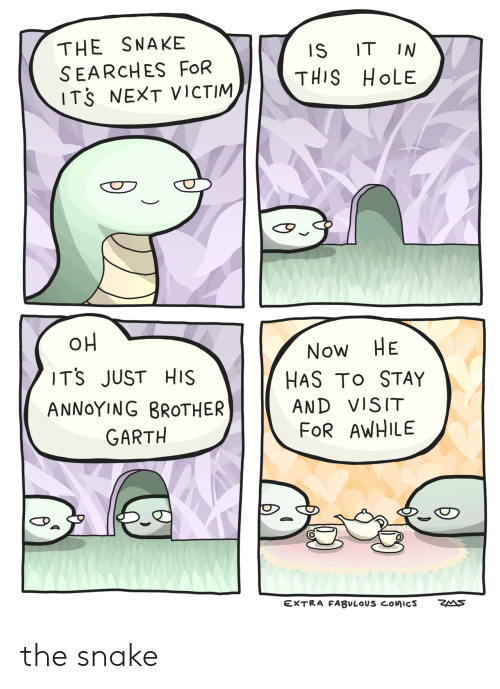 Garth: THE SNAKE  SEARCHES FOR  ITS NEXT VICTIM  IS ITIN  THIS HoLE  TS JUST HIS  ANNoYING BROTHER  Now HE  HAS To STAY  AND VISIT  FoR AWHILE  GARTH  EXTRA FABULOUS COMICS  ZA S the snake