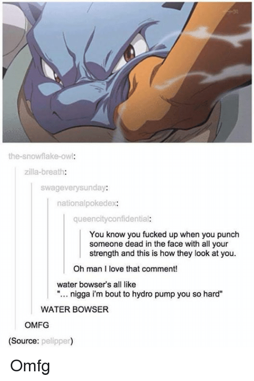 """Dank Memes: the-snowflake-owl  zilla-breath:  swagevery sunday:  national pokedex:  queen city confidential  You know you fucked up when you punch  someone dead in the face with all your  strength and this is how they look at you.  Oh man I love that comment!  water bowser's all like  nigga im bout to hydro pump you so hard""""  WATER BOWSER  OMFG  (Source:  pelipper) Omfg"""