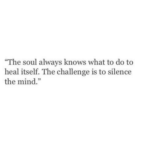 """the challenge: """"The soul always knows what to do to  heal itself. The challenge is to silence  the mind."""""""