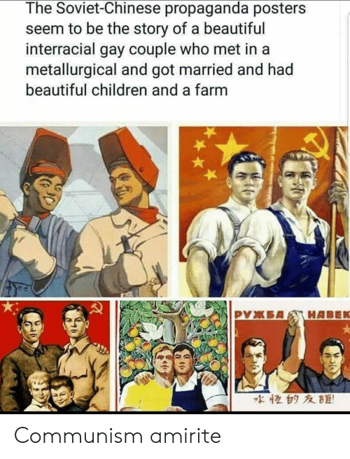 Amirite: The Soviet-Chinese propaganda posters  seem to be the story of a beautiful  interracial gay couple who met in a  metallurgical and got married and had  beautiful children and a farm  な恒白タ友距! Communism amirite
