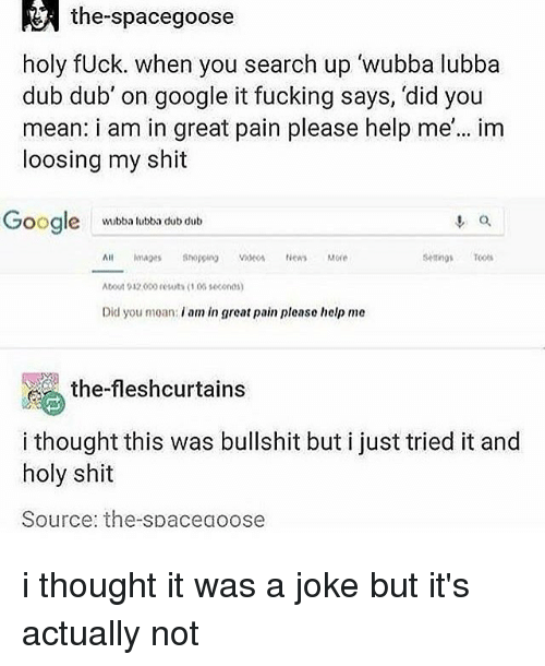 loosing: the-spacegoose  holy fUck. when you search up wubba lubba  dub dub' on google it fucking says, 'did you  mean: i am in great pain please help me'... im  loosing my shit  oogle  o.  wubba lubba dub dub  setings T  All mae Shopping Videos News More  bout 932o0o resuts 1 03 1600n0  Did you moan: i am in great pain please help me  , the-fleshcurtains  i thought this was bullshit but i just tried it and  holy shit  Source: the-spaceaoose i thought it was a joke but it's actually not