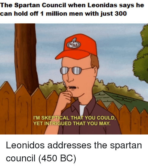 Spartan: The Spartan Council when Leonidas says he  can hold off 1 million men with just 300  I'M SKEPTICAL THAT YOU COULD  YET INTRIGUED THAT YOU MAY. Leonidos addresses the spartan council (450 BC)