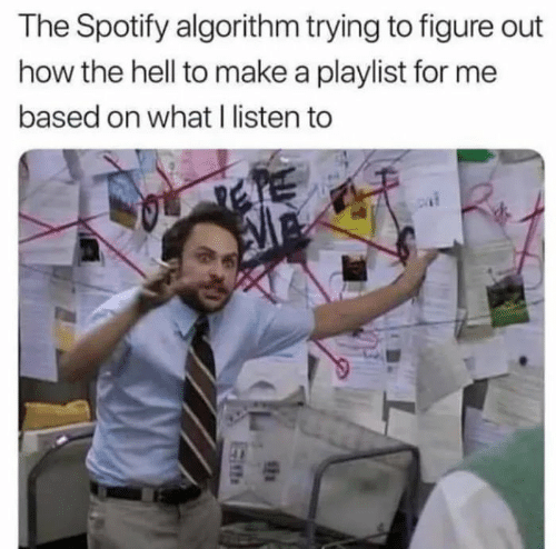 sen: The Spotify algorithm trying to figure out  how the hell to make a playlist for me  based on what I listen to  SEN
