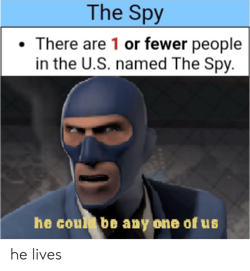 spy: The Spy  There are 1 or fewer people  in the U.S. named The Spy.  he coul be any one of us he lives