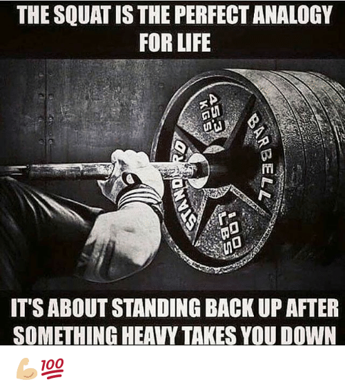 Analogy: THE SQUAT IS THE PERFECT ANALOGY  FOR LIFE  ITS ABOUT STANDING BACK UP AFTER  SOMETHING HEAVY TAKES YOU DOWN 💪🏼💯