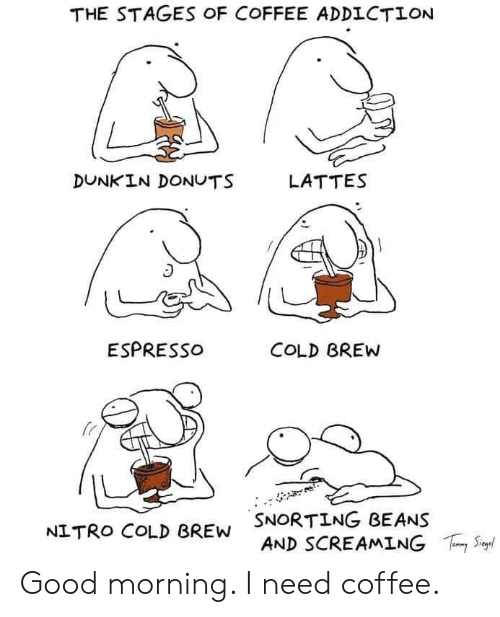 Donuts: THE STAGES OF COFFEE ADDICTION  DUNKIN DONUTS  LATTES  ESPRESSO  COLD BREW  SNORTING BEANS  AND SCREAMING  S  NITRO COLD BREW Good morning. I need coffee.
