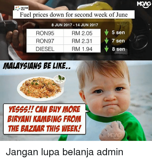 biryani: THE STAR  Fuel prices down for second week of June  8 JUN 2017 14 JUN 2017  5 sen  RON95  RM 2.05  RON97  RM 2.31  7 sen  DIESEL  RM 1.94  8 sen  MALAYSIANS BE LIKE..  yESSS!! CAN Buy MORE  BIRYANI KAMBING FROM  THE BAZAAR THIS WEEK!  MGNG Jangan lupa belanja admin