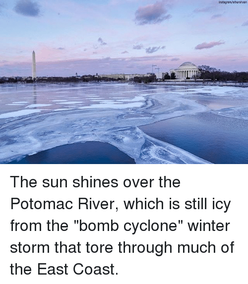 """winter storm: The sun shines over the Potomac River, which is still icy from the """"bomb cyclone"""" winter storm that tore through much of the East Coast."""