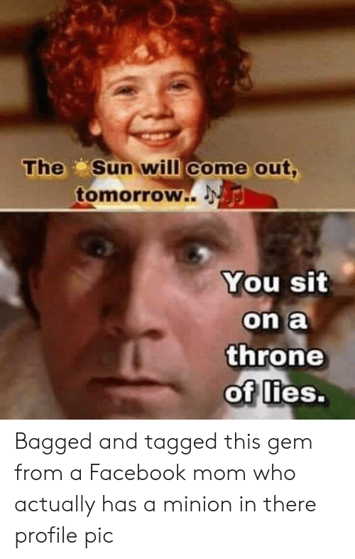 Sun Will Come Out Tomorrow: The Sun will come out,  tomorrow..  You sit  on a  throne  of lies. Bagged and tagged this gem from a Facebook mom who actually has a minion in there profile pic
