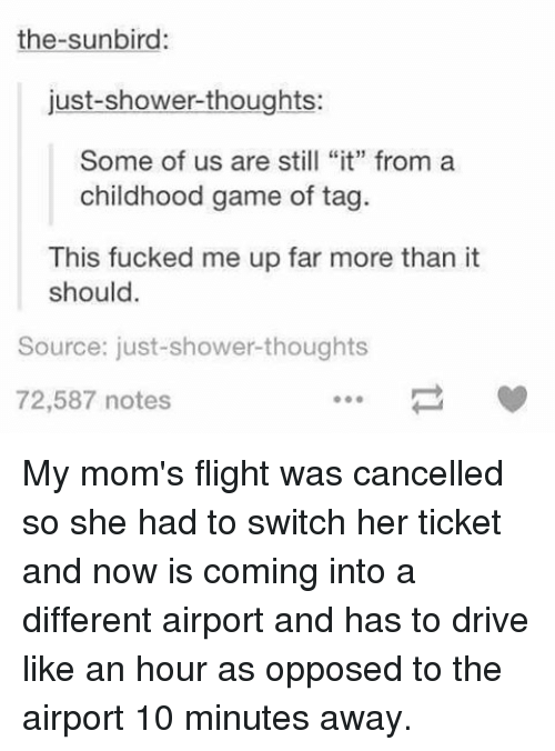 """Memes, Moms, and Shower: the-sunbird  just-shower thoughts:  Some of us are still """"it"""" from a  childhood game of tag.  This fucked me up far more than it  should  Source: just-shower thoughts  72,587 notes My mom's flight was cancelled so she had to switch her ticket and now is coming into a different airport and has to drive like an hour as opposed to the airport 10 minutes away."""