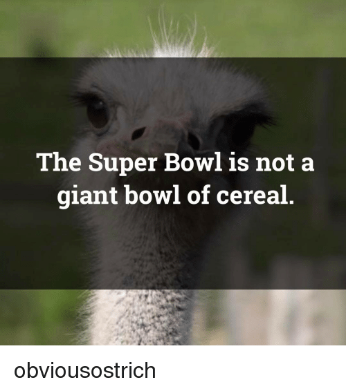Memes, Bowls of Cereal, and 🤖: The Super Bowl is not a  giant bowl of cereal obviousostrich