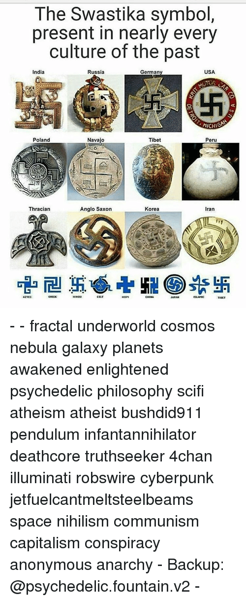 Capitalization: The Swastika symbol,  present in nearly every  culture of the past  USA  India  Russia  Germany  MICHIGAN  Poland  Navajo  Tibet  Peru  Thracian  Anglo Saxon  Korea  Iran  HINDU  CELT  AZTEC  CHINA  TIDET - - fractal underworld cosmos nebula galaxy planets awakened enlightened psychedelic philosophy scifi atheism atheist bushdid911 pendulum infantannihilator deathcore truthseeker 4chan illuminati robswire cyberpunk jetfuelcantmeltsteelbeams space nihilism communism capitalism conspiracy anonymous anarchy - Backup: @psychedelic.fountain.v2 -