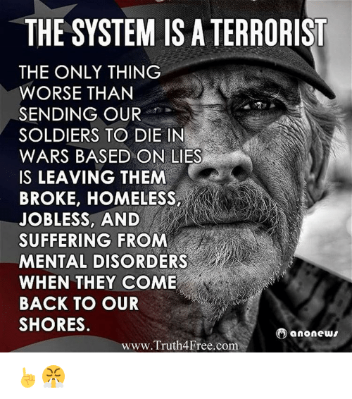 Homeless, Memes, and Soldiers: THE SYSTEM IS A TERRORIST  THE ONLY THING  WORSE THAN  SENDING OUR  SOLDIERS TO DIE IN  WARS BASED ON LIES  IS LEAVING THEM  BROKE, HOMELESS,  JOBLESS, AND  SUFFERING FROM  MENTAL DISORDERS  WHEN THEY COME  BACK TO OUR  SHORES.  anonews  www.Truth4Free.com ☝😤