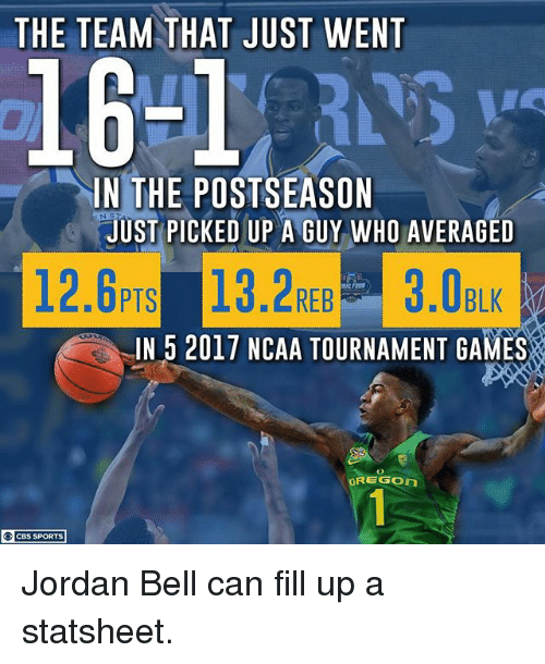 ncaa tournament: THE TEAM THAT JUST WENT  16-1 5  IN THE POSTSEASON  JUST PICKED UP A GUY WHO AVERAGED  ⅢEREB  IN 5 2017 NCAA TOURNAMENT GAMES  OREGON  CBS SPORTS Jordan Bell can fill up a statsheet.