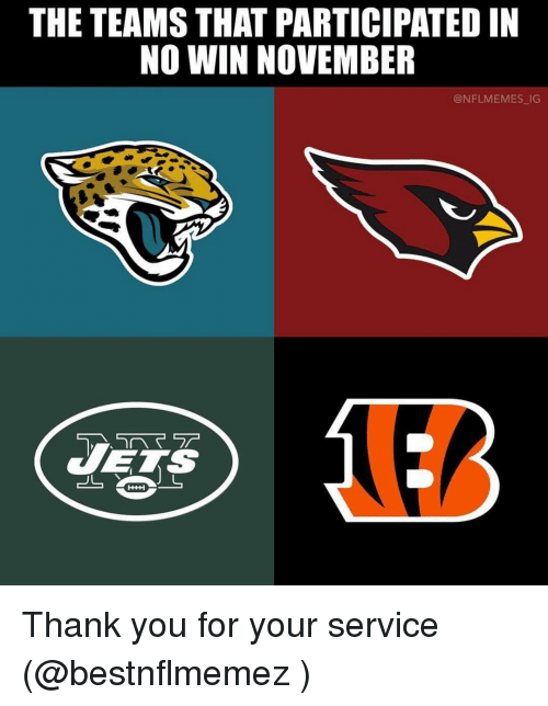 Nflmemes: THE TEAMS THAT PARTICIPATED IN  NO WIN NOVEMBER  @NFLMEMES IG  へマテ  TETS Thank you for your service (@bestnflmemez )