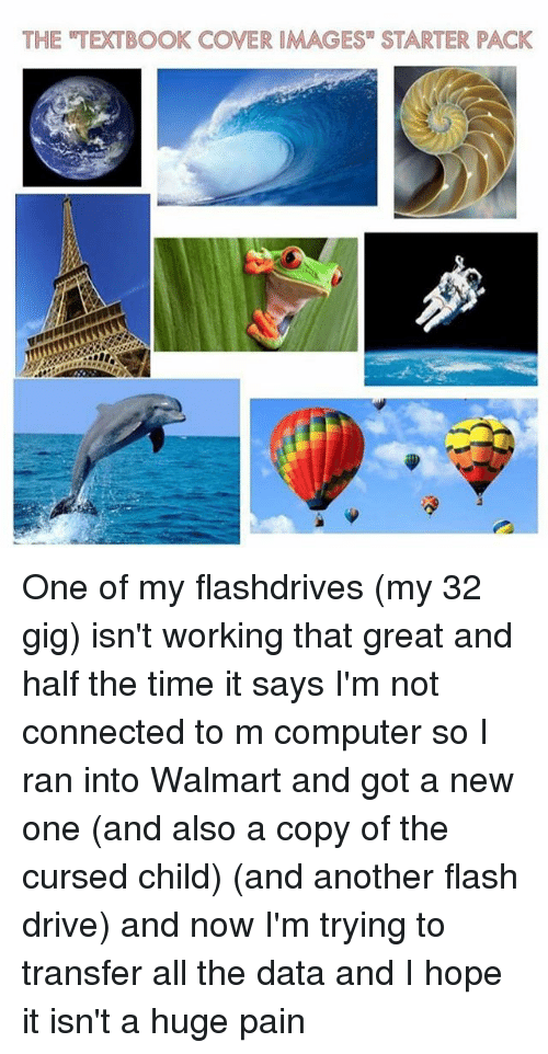 "Memes, Walmart, and Computer: THE TEXTBOOK COVER IMAGES"" STARTER PACK One of my flashdrives (my 32 gig) isn't working that great and half the time it says I'm not connected to m computer so I ran into Walmart and got a new one (and also a copy of the cursed child) (and another flash drive) and now I'm trying to transfer all the data and I hope it isn't a huge pain"