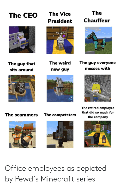 chauffeur: The  The Vice  The CEO  Chauffeur  President  Sven  The guy everyone  The weird  The guy that  messes with  new guy  sits around  |jeb  The retired employee  that did so much for  The scammers  The competeters  the company Office employees as depicted by Pewd's Minecraft series