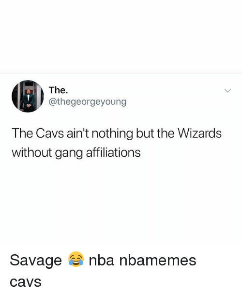Basketball, Cavs, and Nba: The.  @thegeorgeyoung  The Cavs ain't nothing but the Wizards  without gang affiliations Savage 😂 nba nbamemes cavs