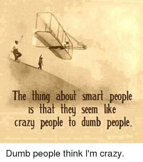 people think im crazy: The thing about smart people  s that theu seem like  crazy people to dumb people.