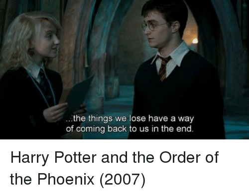 harry potter and the order of the phoenix: the things we lose have a way  of coming back to us in the end. Harry Potter and the Order of the Phoenix (2007)