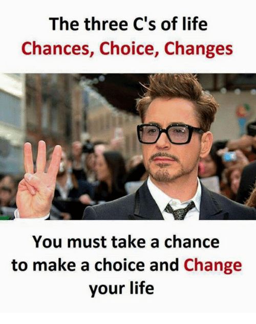 Make A, Making A, and Three: The three C's of life  Chances, Choice, Changes  You must take a chance  to make a choice and  Change  your life