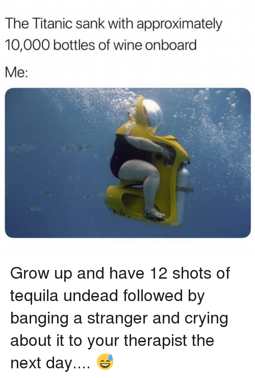 Sank: The Titanic sank with approximately  10,000 bottles of wine onboard Grow up and have 12 shots of tequila undead followed by banging a stranger and crying about it to your therapist the next day.... 😅