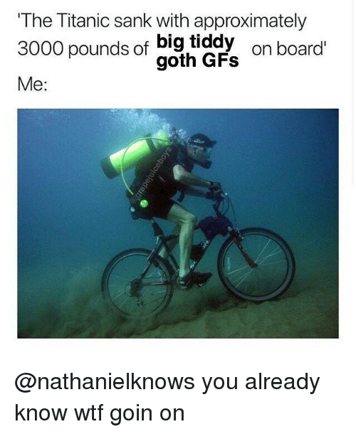 Big Tiddy: The Titanic sank with approximately  3000 pounds of big tiddy  3000 pounds of gad  on board  Me: @nathanielknows you already know wtf goin on