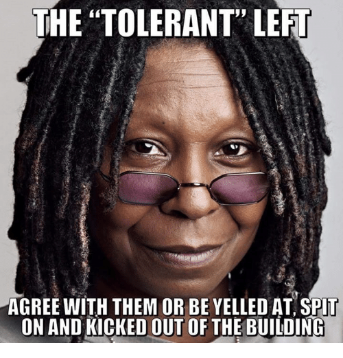 """Memes, 🤖, and Them: THE """"TOLERANT"""" LEFT  AGREE WITH THEM OR BE YELLED AT SPlT  ON AND KICKED OUT OF THE BUILDING"""